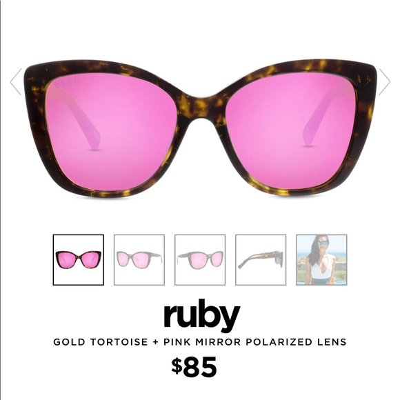 5777574ac83 Diff Eyewear Accessories - DIFF Ruby Gold Tortoise + Pink Lens Sunglasses